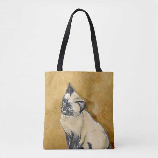 Siamese Cat on Gold Tote Bag