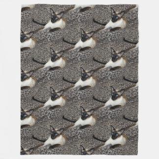 Siamese Cat on Leopard Print Wild Animal Spots Fleece Blanket