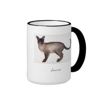 Siamese Cat Painted in Watercolour Ringer Mug