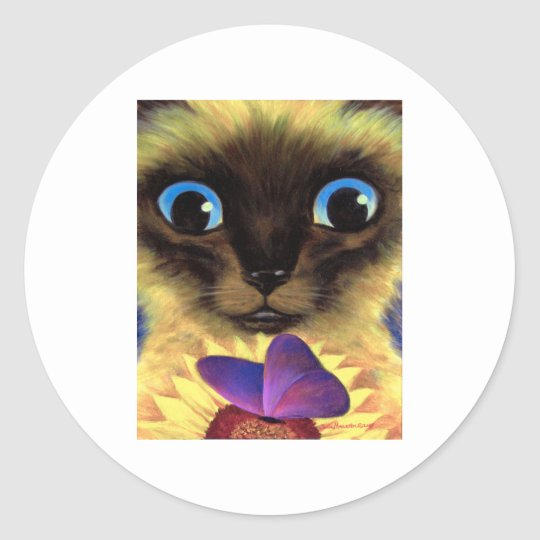 Siamese Cat Painting With Butterfly - Multi Classic Round Sticker