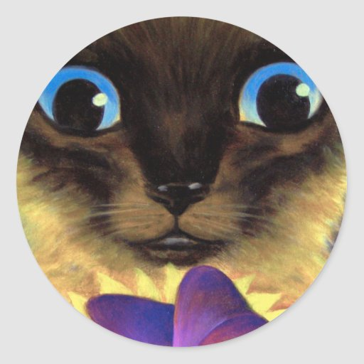 Siamese Cat Painting With Butterfly - Multi Round Sticker