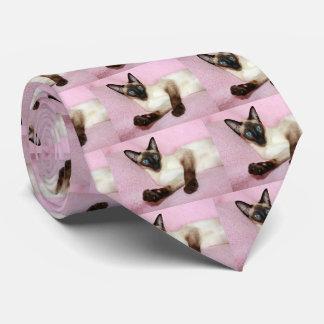 Siamese Cat Pink Background Tie