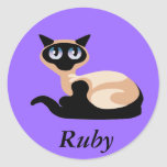 Siamese Cat Round Sticker