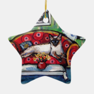 Siamese cat senses smiling moon cat painting christmas ornament