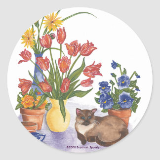 "Siamese Cat Tulips Pansies Watercolor ""Chester"" Classic Round Sticker"