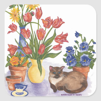 """Siamese Cat Tulips Pansies Watercolor """"Chester"""" Square Sticker"""