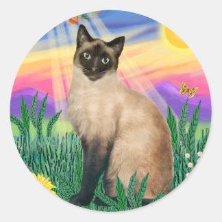 Siamese Cat - Twilght Classic Round Sticker