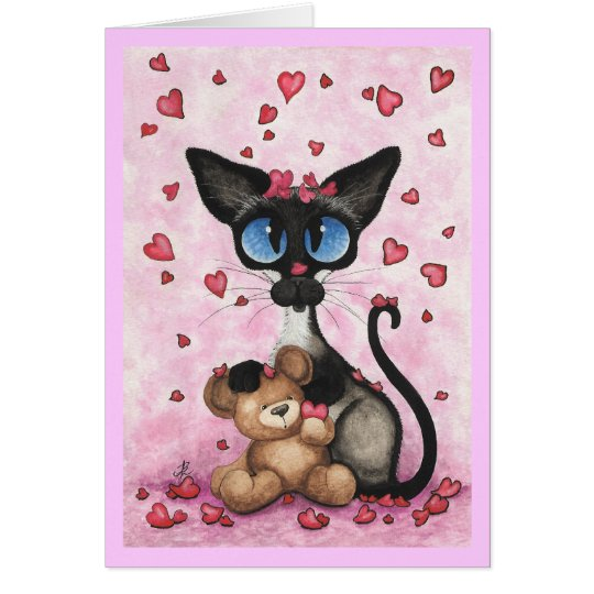 Siamese Cat Valentine's Day Card