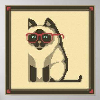 Siamese Cat Wearing Glasses Pixel Art Poster