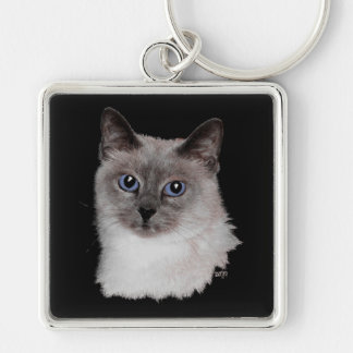 Siamese Cat with Blue Eyes Silver-Colored Square Key Ring