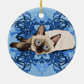Siamese Cat With Blue Floral Design Round Ceramic Decoration