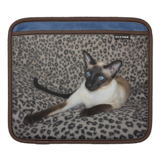 Siamese Cat with Leopard Print Wild Animal Spots Sleeves For iPads