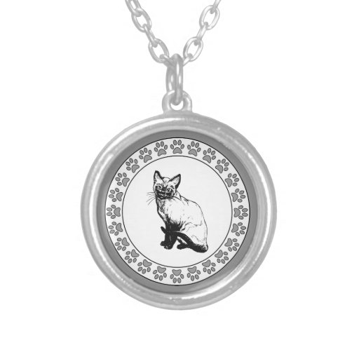 Siamese Cat with Pawprints Pendants