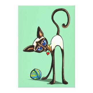 Siamese Cat Yarn Thief Ink Pencil Drawing Gallery Wrap Canvas