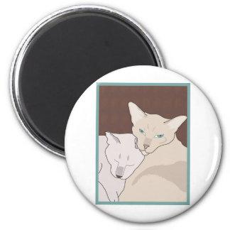 Siamese Cats 6 Cm Round Magnet