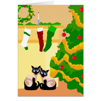 Siamese Cats Christmas Card
