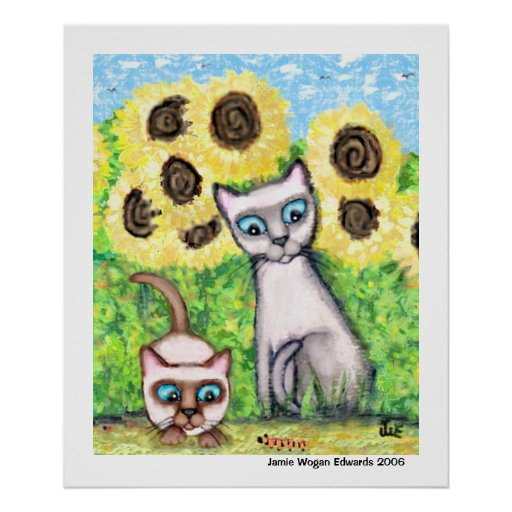 Siamese Cats With Caterpillar & Sunflowers Poster