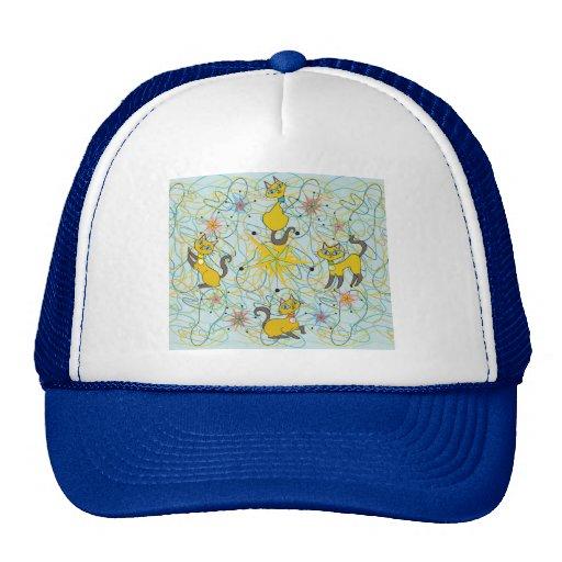 Siamese Cats with Pinwheel Starbursts Mesh Hat