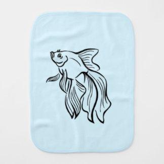 Siamese Fighting Fish Blue Baby Burp Cloths