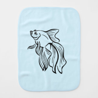 Siamese Fighting Fish Blue Burp Cloth