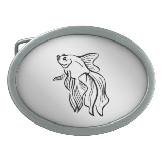Siamese Fighting Fish Oval Belt Buckles