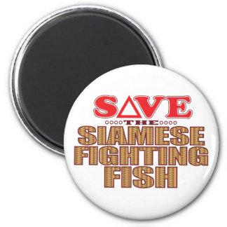 Siamese Fighting Fish Save 6 Cm Round Magnet