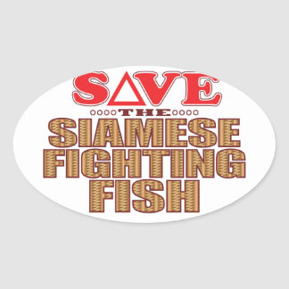 Siamese Fighting Fish Save Oval Sticker