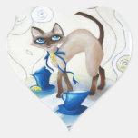 Siamese - fine art heart sticker