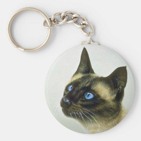 Siamese (head study) basic round button key ring
