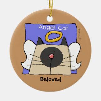 Siamese Keepsake Cat Angel Personalize Round Ceramic Decoration