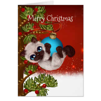 Siamese Kitten Christmas Card