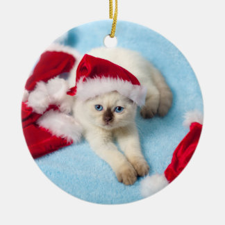 Siamese Kitten: Santa Hats Christmas Ornament