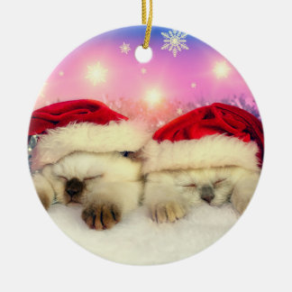 Siamese Kitten: Santa Twinsies Christmas Ornament
