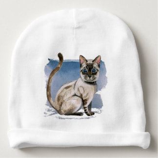 Siamese Kitten Watercolor Painting Baby Beanie