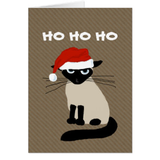 Siamese Kitty Clause - Funny Cat Christmas Greeting Card
