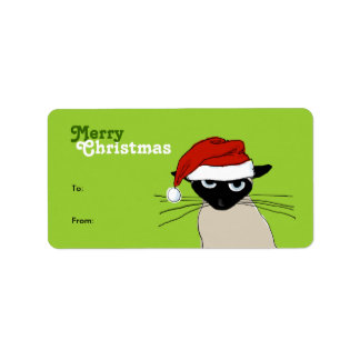 Siamese Santa Claws - Funny Christmas Cat Address Label