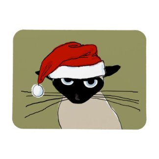 Siamese Santa Claws - Funny Holiday Kitty Cat Rectangular Photo Magnet