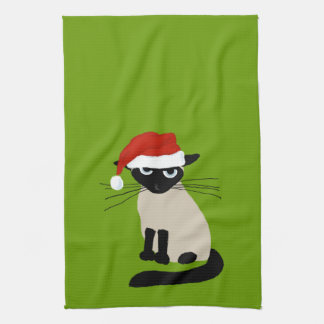 Siamese Santa Claws - Funny Holiday Kitty Cat Tea Towel