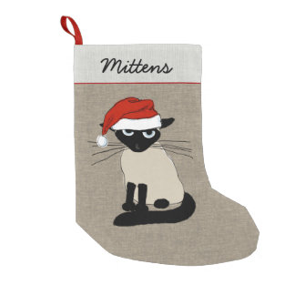 Siamese Santa Claws Kitty Cat with Text Small Christmas Stocking