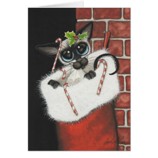 Siamese Stocking Stuffer Greeting Card