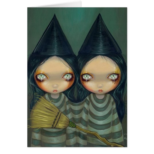 """Siamese Witch Twins"" Greeting Card"