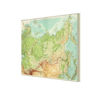 Siberia map with shipping routes canvas print