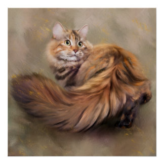 Siberian cat portrait art drawing oil poster