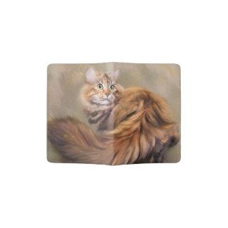 Siberian cat portrait art oil passport holder