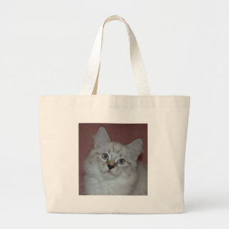 Siberian Colorpoint Kitten on products Large Tote Bag