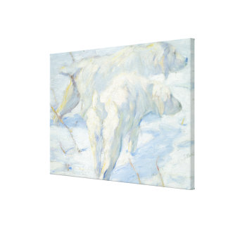 Siberian Dogs in the Snow Canvas Print