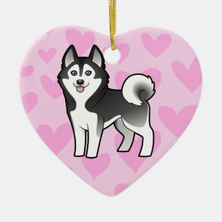 Siberian Husky / Alaskan Malamute Love Ceramic Heart Decoration