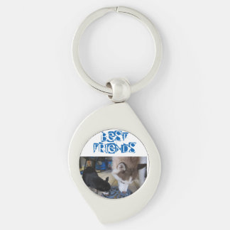 Siberian Husky and Chihuahua eat breakfast Silver-Colored Swirl Metal Keychain