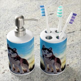Siberian Husky Bathroom Set