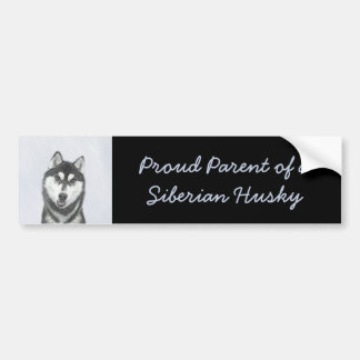 Siberian Husky (Black and White) Painting Dog Art Bumper Sticker